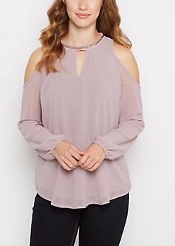 Violet Chain Neck Keyhole Cold Shoulder Top