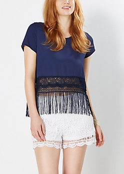 Navy Gauze Goddess Fringed Tee