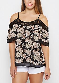 Black Floral Ruffled Cold Shoulder Top