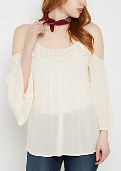 Ivory Crochet Yoke Cold Shoulder Top