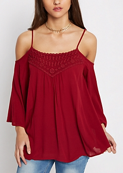 Burgundy Crochet Yoke Cold Shoulder Top