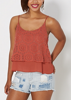 Burnt Orange Lace Swing Cami