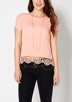 Peach Crochet Hem Cap Sleeve Blouse