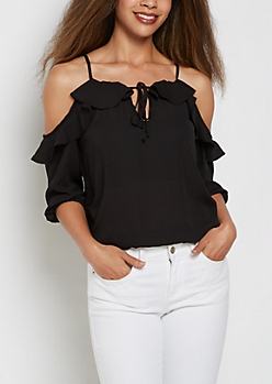 Black Ruffled Cold Shoulder Top
