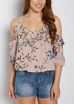 Wildflower Ruffled Cold Shoulder Top