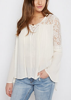 Ivory Lace Bell Sleeve Peasant Top