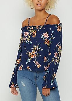 Navy Floral Buttoned Cold Shoulder Blouse