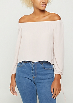 Pink Off Shoulder Tie Sleeve Blouse