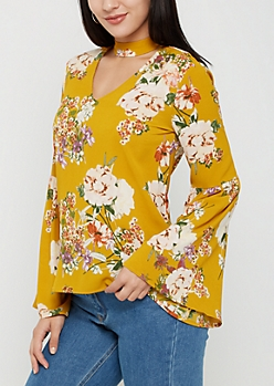 Mustard Floral Crepe Blouse