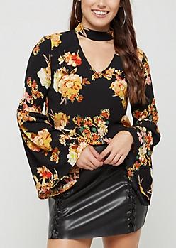 Black Floral Crepe Blouse