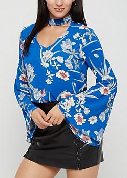 Blue Floral Crepe Blouse