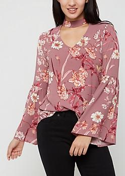 Pink Floral Crepe Blouse