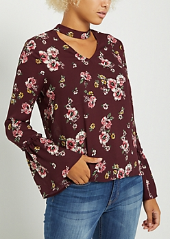Floral Keyhole Bell Sleeve Blouse