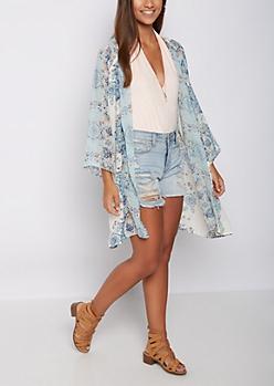 Light Blue Floral Chiffon Kimono