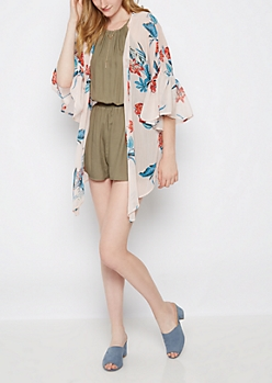 Taupe Ruffled Cascading Kimono