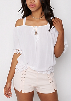 White Crepe Cold Shoulder Top