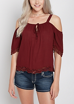 Burgundy Crepe Cold Shoulder Top