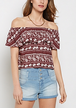 Elephant Ruffle Off Shoulder Top
