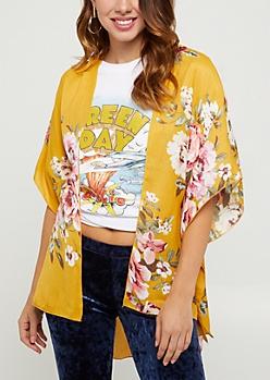 Mustard Floral Gauze Kimono