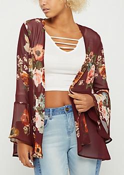 Burgundy Wildflower Bell Sleeve Kimono
