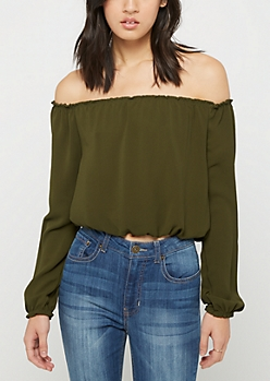 Olive Crepe Off Shoulder Top