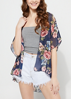 Navy Floral Chiffon Kimono