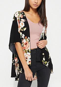 Black Floral Woven Kimono