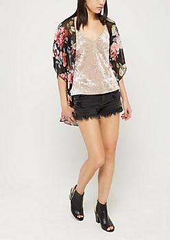 Black Floral Chiffon Kimono