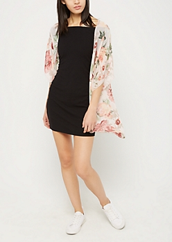 Pink Floral Chiffon Kimono