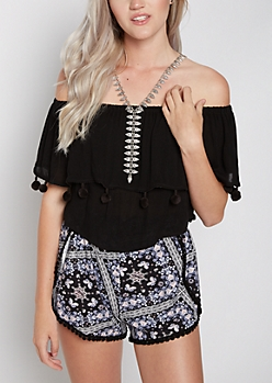 Black Pom Off-Shoulder Flounce Top