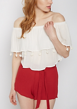 White Pom Off-Shoulder Flounce Top