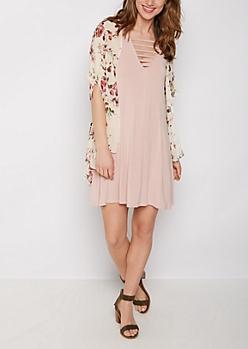 Rose Print Chiffon Kimono