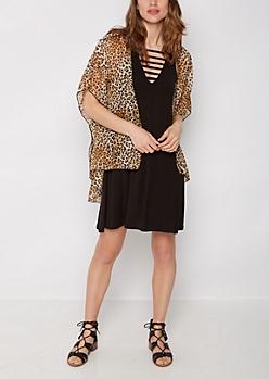 Leopard Print Chiffon Kimono
