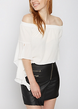 White Ruffled Sleeve Off Shoulder Top