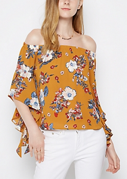 Mustard Floral Ruffled Sleeve Off Shoulder Top