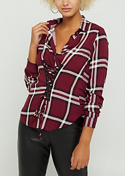 Red Plaid Lace Up Corset Shirt