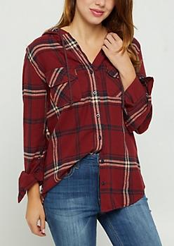 Red Plaid Hooded Shirt