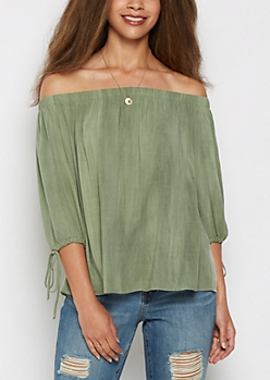 Olive Off Shoulder Challis Top