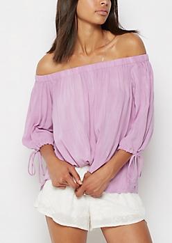 Lavender Off Shoulder Challis Top