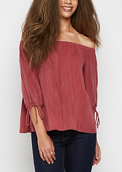 Burgundy Off Shoulder Challis Top