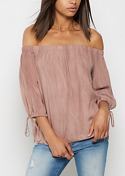 Pink Off Shoulder Challis Top