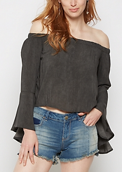 Black Bell Sleeve Off Shoulder Top