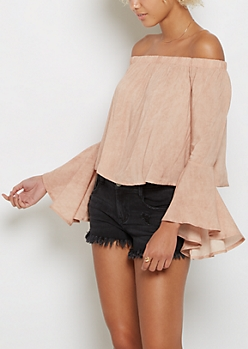 Nude Bell Sleeve Off Shoulder Top