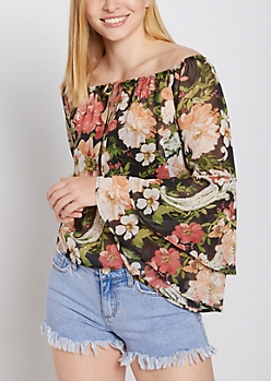 Floral Sheer Bell Sleeve Top