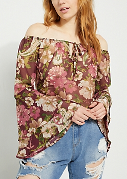 Burgundy Floral Off Shoulder Tiered Sleeve Blouse