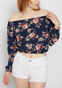 Floral Banded Off Shoulder Top