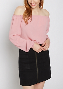 Pink Banded Off Shoulder Top