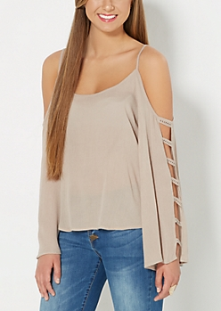 Taupe Crochet Caged Cold Shoulder Top