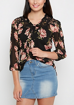 Rosy Chiffon Tied Blouse