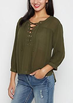 Olive Crepe Lace-Up Blouse